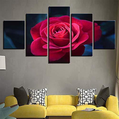 BBQBQ Dekorative Malerei,Blumen Inkjet gemälde fünf Hause Wohnzimmer Rose malerei Kern ohne Rahmen wandmalerei 5 malerei Kern 10x15cmx2 10x20cmx2 10x25cmx1 (30 Call-kugeln)