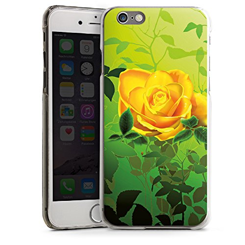 Apple iPhone 5s Housse Étui Protection Coque Jaune Rose Fleur CasDur transparent