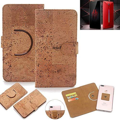 K-S-Trade® Schutz Hülle Für Nubia Red Magic Mars Handyhülle Kork Handy Tasche Korkhülle Schutzhülle Handytasche Wallet Case Walletcase Flip Cover Smartphone Handyhülle