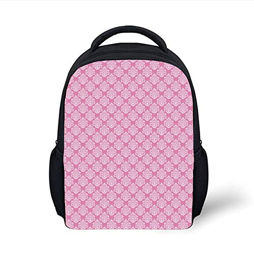 Kids School Backpack Damask,Flora Design with Middle Eastern Motifs Flowers Leaves Swirls Vintage Inspirations Decorative,Pink White Plain Bookbag Travel Daypack Flora Swirl