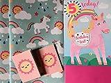Einhorn 5. Geburtstag 55Heute Mädchen Geburtstag Karte Paket mit 2Einhorn Geschenkpapier & Sun Tags