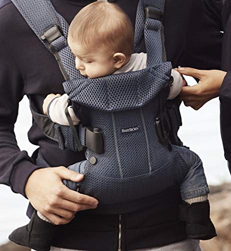 BABYBJÖRN Baby Carrier One Air, 3D Mesh, Navy Blue, 2018 Edition Baby Bjorn The latest version (2018) with soft and breathable mesh that dries quickly Ergonomic baby carrier with excellent support 4 carrying positions: facing in (two height positions), facing out or on your back 7