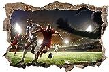 DesFoli Fussball Stadion 3D Look Wandtattoo 70 x 115 cm Wanddurchbruch Wandbild Sticker Aufkleber D511