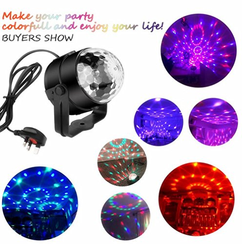 Carryme Mini Disco DJ Stage Lights 3W LED RGB Sound Actived Crystal Magic Rotating Glitter Ball Lights Effect For KTV Xmas Party Wedding Show Club Pub Color Changing Lighting Strobe Lights [with REMOTE and UK Plug]