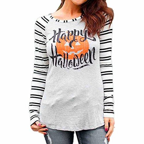 (Yesmile Damen Bluse Frauen Streifen Tops Bluse Patchwork Halloween Langarm Gedruckt Sweatshirt Pullover Shirt)