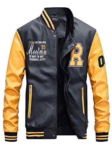 Vogstyle Hommes Vest Casuel Cuir PU Teddy Baseball Blouson avec Doublure Jackets Jaune M