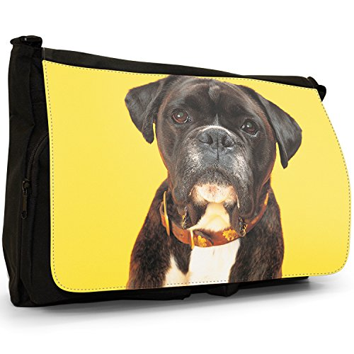 Fancy A Bag Borsa Messenger nero Boxer Dog With Bling Collar Boxer Dog Yellow Background
