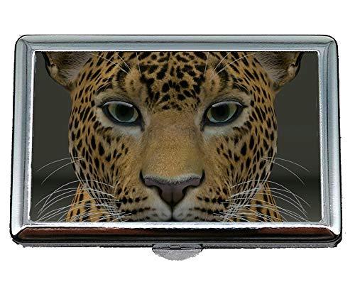 Portasigarette/Box - King Size, Leopard Leopard Head mondo animale Custodia per biglietti da visita, mantenere pulito il tuo biglietto da visita