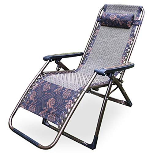 XINGPING Balkon Recliner Sun Folding Mittagspause Stuhl Senior Sommer Nickerchen Bett Erwachsene Multifunktions Moderne Minimalist (Farbe : Square Tube Jacquard)