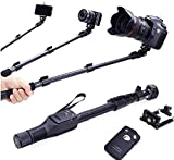 EzLife ® Longest Selfie Stick Ever with Bluetooth for taking Photos & Videos on all Cameras, DSLR, Mobile Phones, Original Premium & Best Quality, Light Weight, Best Price Gift, Long Length Extendable & Foldable Monopod, Golden Selfie Stick for iPhones (iOS 5.0+) 4s, 5s, 6s, 6s Plus, Android Phones, Samsung Galaxy, Note, Edge, Gionee, Intex, Karbonn, Lenovo, Nokia, Nexus, Oppo, Coolpad, Sony