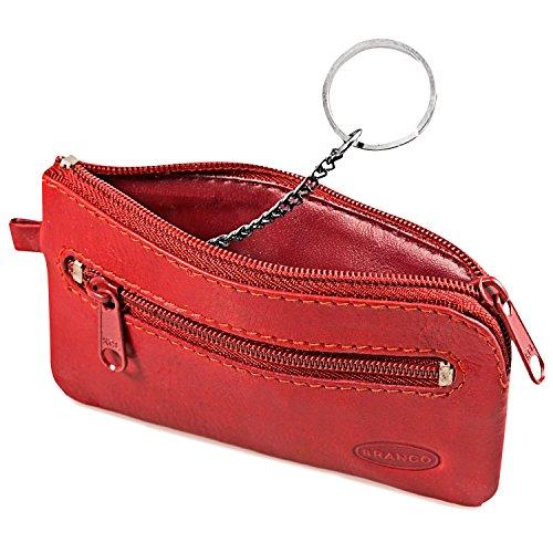 Kleines Schlüsseletui / Schlüsselmäppchen aus Leder, für Damen und Herrn, Rot, Branco 019 (Leder-schlüssel-beutel)