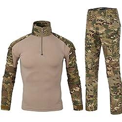 QCHENG Chemise de Combat Militaire Homme Airsoft Shirt Tenue Camouflage Uniforme Tactique Séchage Rapide à Manches & Pantalon Costume Tenues de Combat Pantalon Paintball MC Small