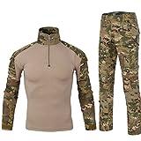 QCHENG Taktisches Hemd Militärhemd und Hose Airsoft Männer Langarm BDU Combat Camouflage Camo Kampf T-Shirt für Tactical Paintball Uniform Armee (MC M)