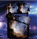 Set biancheria da letto king size spazio 3d stampa cotone Galaxy biancheria da letto copripiumino + lenzuolo sopra + 2federe Spazio completo letto sono vivaci e bei colori, Galaxy motivo, spazio per bambini è perfetto per un adolescente di o camera ...