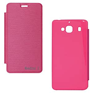 DMG Premium Flip Cover Case For Xiaomi Redmi 2 (Pink)