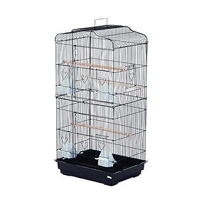 PawHut Large Metal Bird Cage for Parrot Parakeet Macaw Pet Supply Black 47.5L x 36W x 91H (cm) 1