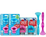 Steripod Kit for Men and Women: 4 Clip-On Toothbrush Protectors (2 Blue & 2 Pink), 2 Razor Protectors (Blue & Pink), 2 Tongue Cleaners (Blue & Pink)