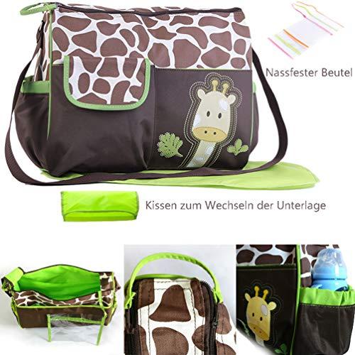 ViVseliy Baby Wickeltasche, Große Kapazität Multifunktions-Umhängetasche Mama Tasche Niedliche Baby Aufbewahrungstasche für Mama und Papa Unisex für Außenbereich Reisen - Grüne Giraffe