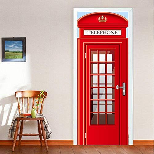 SJKstore Papel pintado 3d puerta London Red Cabina telefónica Etiqueta autoadhesiva de la puerta Película de PVC impermeable Vinilo ecológico Mural de pared Decoración 77x200CM