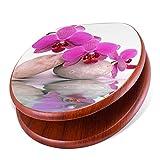banjado Design Toilettensitz mit Absenkautomatik, WC-Sitz Holz, Klodeckel mit Metall Scharnieren, Toilettendeckel mit Motiv Orchidee