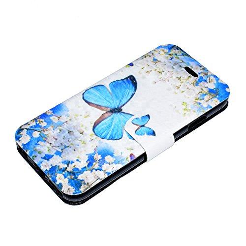 iPhone 6 Plus/6S Plus Coque, Voguecase Étui en cuir synthétique chic avec fonction support pratique pour Apple iPhone 6 Plus/6S Plus 5.5 (Red Fox 04)de Gratuit stylet l'écran aléatoire universelle Petite orchidée 02