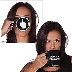 Idea Regalo - WoW STORE ® - Tazza spiritosa con dito medio sul fondo per caffè, latte, succo di frutta o tè - Have a nice day
