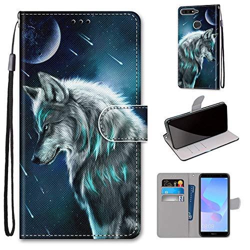 Miagon Flip PU Leder Schutzhülle für Huawei Y7 2018,Bunt Muster Hülle Brieftasche Case Cover Ständer mit Kartenfächer Trageschlaufe,Himmel Wolf