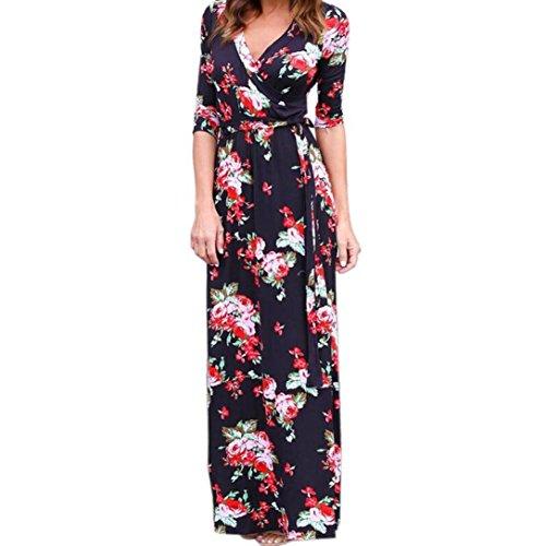 robe femme, Transer ® Femmes Sexy V Neck Boho Long Maxi soirée Beach Party robe fleurie Noir