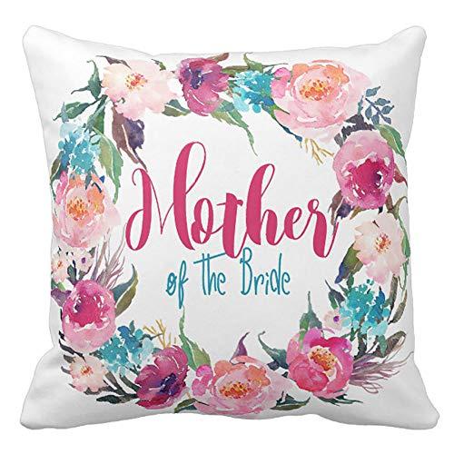 DearLord Kissenbezug mit Blumenkranz, Motiv Mutter der Braut, 45 x 45 cm, Türkis/Pink - Stilvolle Mutter Der Braut