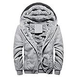 Sunnywill Herren Herbst Winter Blusen Streetwear Sweatshirts Warme Zipper Sweater Jacke Outwear Mantel (Gray, M)