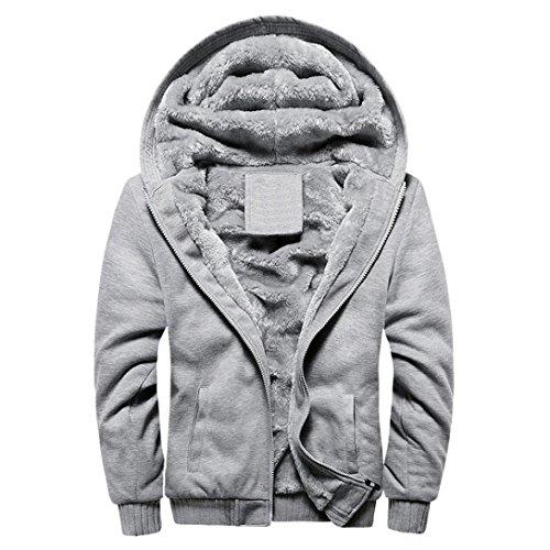 Sunnywill Herren Herbst Winter Blusen Streetwear Sweatshirts Warme Zipper Sweater Jacke Outwear Mantel (Gray, L)