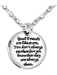 Stainless Steel BBF Pendant Necklace Good friends are like stars don't always see them but always there