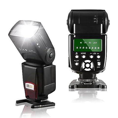 Speedlite Blitzgerät, Kabelloser Master/Slave Speedlite Blitzlicht für Canon Nikon Sony Panasonic Olympus Pentax Fujifilm Sigma Minolta Leica und Digital Kameras mit Single-Kontakt Hot (Blitzlicht Canon)