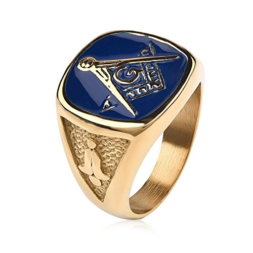Daxey - Vintage Blue freimaurerischen Siegelringe für Männer Schmuck-Goldfarben-Edelstahl-Ring-Männer Punk Gothic-Party-Geschenke [12]