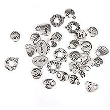 30pcs Colgantes Letras Talladas Aleación Bricolaje para Collar Pulsera