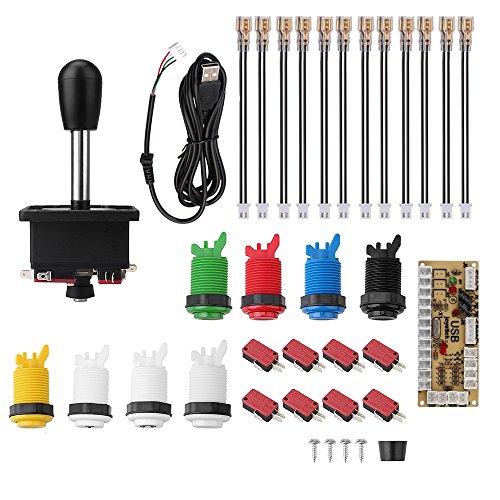 Arcade Joystick, Accessori per Giochi Arcade con Zero Delay USB Encoder, 8 Microinterruttori, 8 Pulsanti (1P / 2P Pulsanti e 6 Pulsanti colorati) per Arcade Video Game MAME Jamma PC Fighting Games