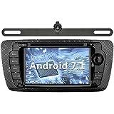 YINUO 7 Pulgadas 2 Din Android 7.1.1 Nougat 2GB RAM Quad Core Pantalla Táctil Estéreo Reproductor De DVD GPS Navegador Multimedia Radio De Coche HD 1024*600 Para SEAT IBIZA 2009-2013 Soporte DAB/ Control Del Volante Bluetooth/ AV-IN/ 1080p (Con Cámara Trasera 2)