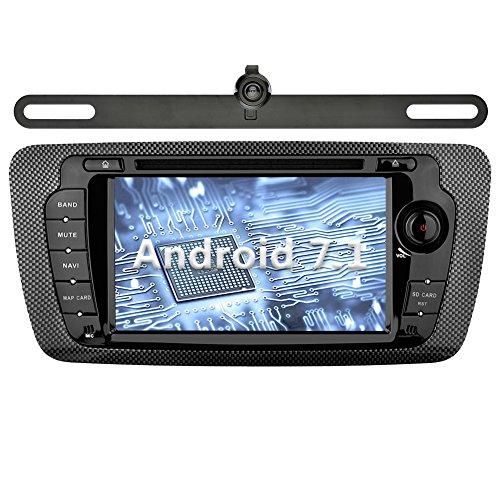 YINUO 7 pouces 2 Din Android 7.1.1 Nougat 2GB RAM Quad Core écran tactile Autoradio Lecteur de DVD GPS Navigation avec Bluetooth Autoradio 7 couleurs de Bouton illumination Support DAB/Bluetooth/Contrôle Volant/AV-IN/1080p pour SEAT IBIZA 2009-2013 (Autoradio avec Caméra arrière 2)