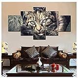 Moderne wohnzimmer hd gedruckt leinwand poster 5 stücke schwarze katze wandkunst malerei wohnkultur tier bilder 30x40x2 30x60x2 30x215 cm/kein rahmen