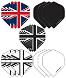 Hardcore Union Jack Pack Extra Thick Standard Dart Flights - 5 sets Per Pack (15 Dart Flights in total) & Red Dragon Checkout Card