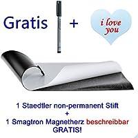 Eisenfolie - Ferrofolie selbstklebend DIN A2 - 0,4mm Stark - 420mm x 594mm x 0,4mm selbstklebend 1 non-permanent Stift + 1 Magnetherz beschreibbar Gratis!!