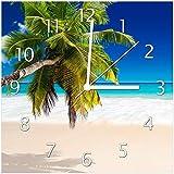 Wallario Glas-Uhr Echtglas Wanduhr Motivuhr • in Premium-Qualität • Größe: 30x30cm • Motiv: Südseestrand in der Karibik mit Palme