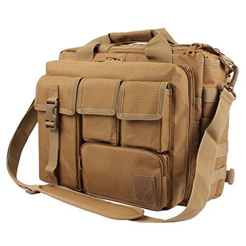 """GES Multifunktions -Mens im Freien taktischen Nylon Schulter Laptop Messenger Bag Aktentasche Handtaschen groß genug für 14 """"Laptop / Kamera / iPad (Schwarz) Braun"""