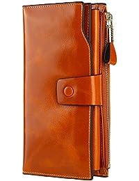 GDTK Grande capacité de cire de luxe en cuir véritable Portefeuille femme avec fermeture éclair de poche