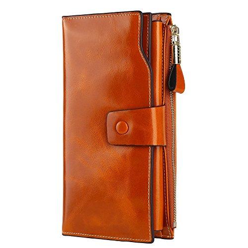 GDTK Femme Portefeuille Grande capacité en cuir véritable avec fermeture éclair de poche (Marron)
