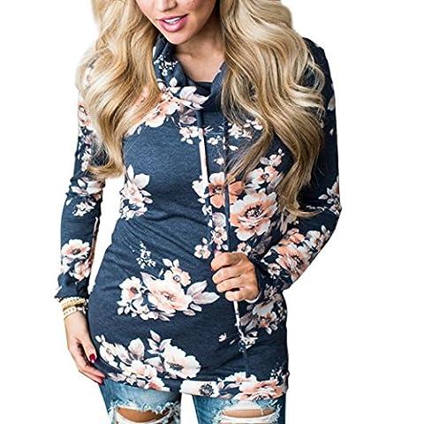 iHee Fashion Womens Floral Sweatshirt Pullover Coat Long Sleeve Turtleneck Outerwear Drawstring Tops Blouse (L,