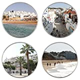 Albufeira - Algarve - Portugal - 80mm Coasters (4 Pack) - Gift/Present - For Mugs/Glasses/Cups