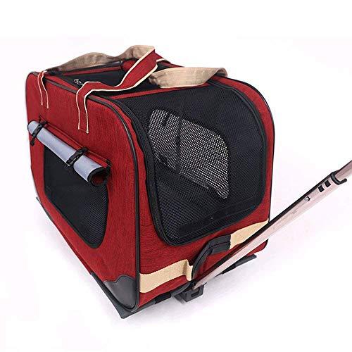 XiaoZou Car Carrier Car con Ruote for Viaggio e Uso Esterno Facile da Piegare e Resistente Pannello a Maglie e Lavabile in Lana Pad Dog o Cat Pet Passeggino Carrello