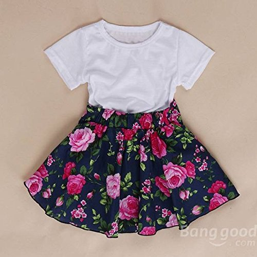 Floral Pleated Skirt (mark8shop Sommer Baby Mädchen T-Shirt + Floral Rock Outfits Plissee Kleid)