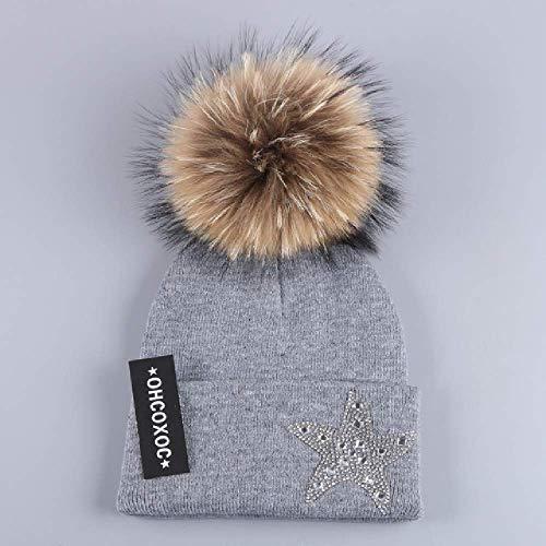 DWXWMZ Flache Schirmmütze Women Starhat Brand Beanies Genuine Animal Mink Fox fur Poms Ball Decorated solid Color Keep Warmer Thick a Hats -